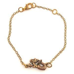 Vintage Mermaid Starfish Gold Tone Chain Bracelet